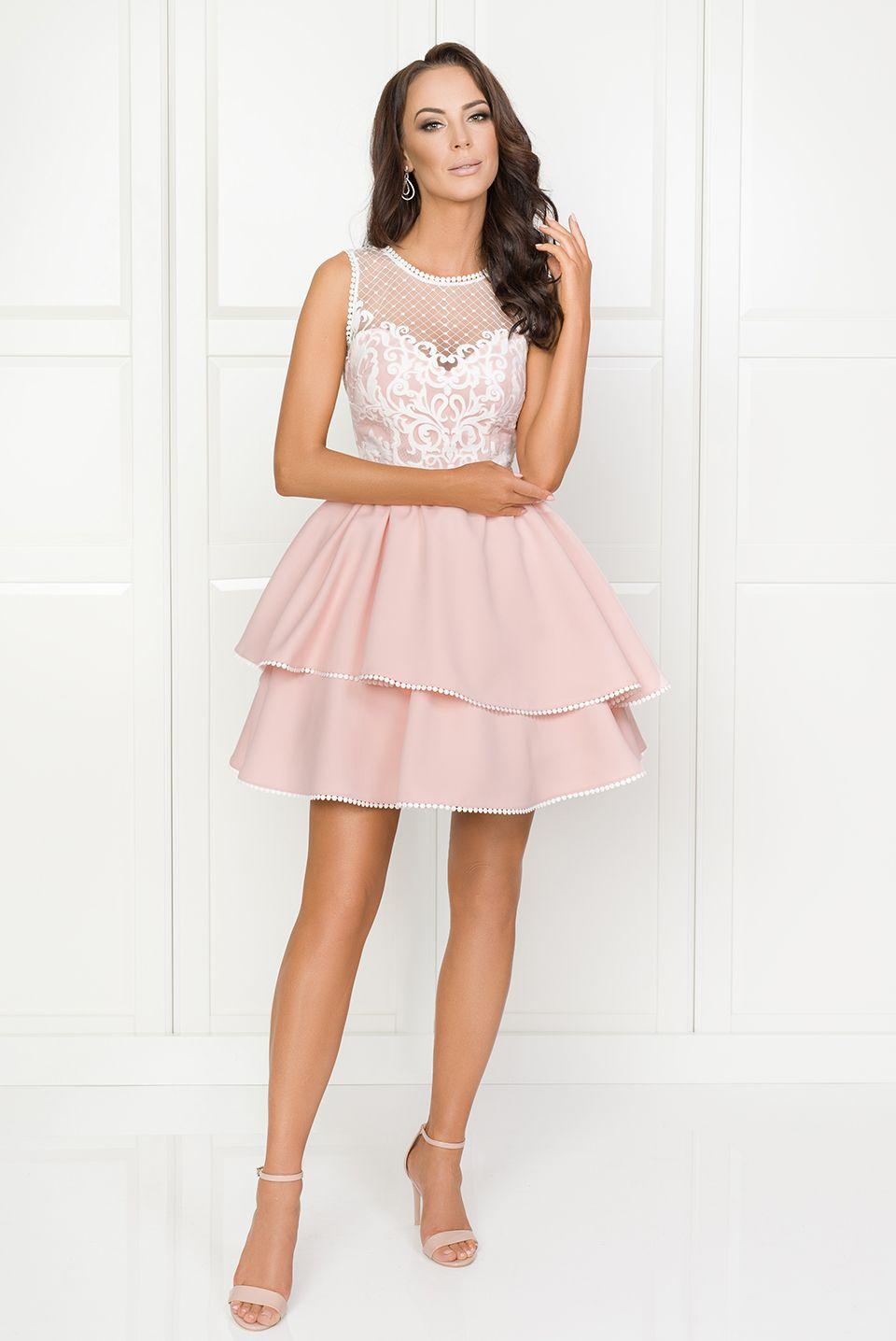 f3cbf23e11 Illuminate.pl Lucy - Rozkloszowana sukienka z różowym dołem