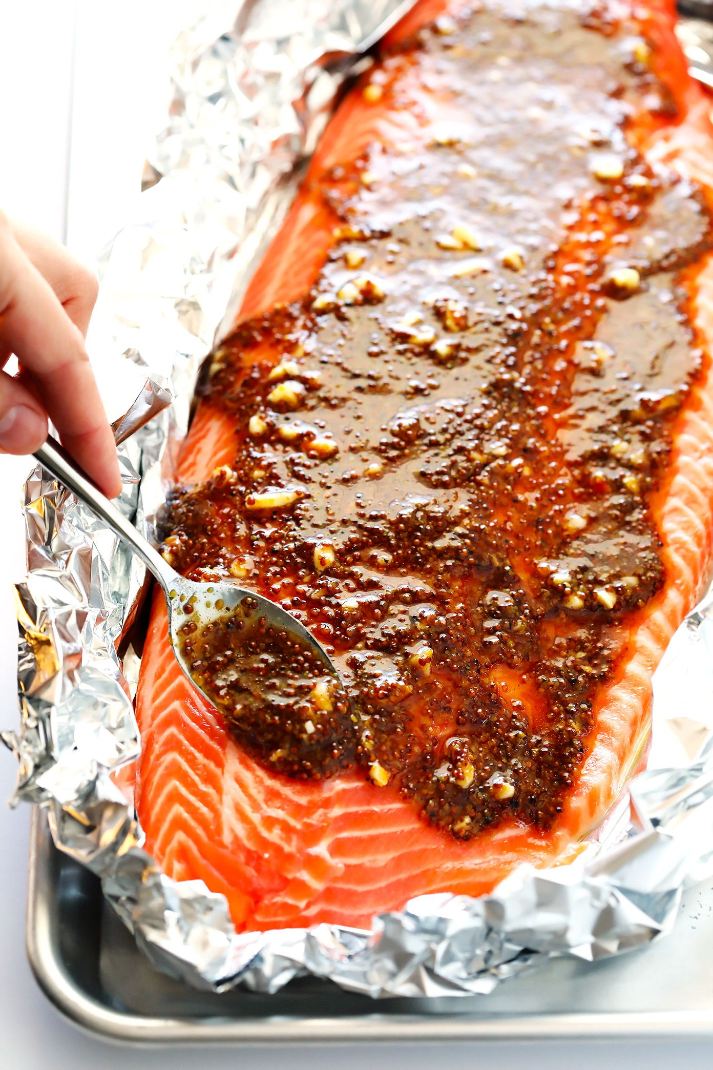 Honey Mustard Salmon In Foil   Gimme Some Oven