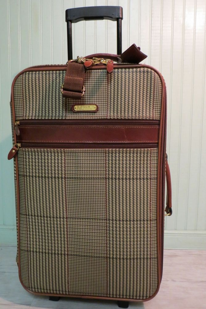 d89bdd71a664 ... reduced ralph lauren polo glen plaid leather rolling suitcase carry on bag  luggage ralphlauren f83d7 1b7e4