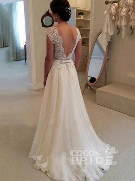 Cheap Jewel Backless Lace ALine Wedding Dresses in 2020