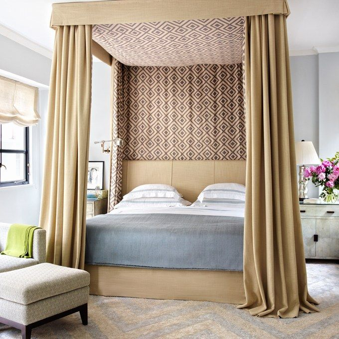 in the master suite of accessories designer fiona koturs hong kong home a great plains linen is used for the beds upholstery canopy and curtains
