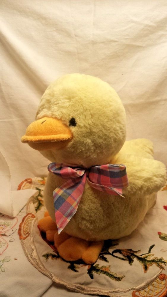 Best Made Toys Plush Yellow Duck with Plaid Pastel Bow Easter ...