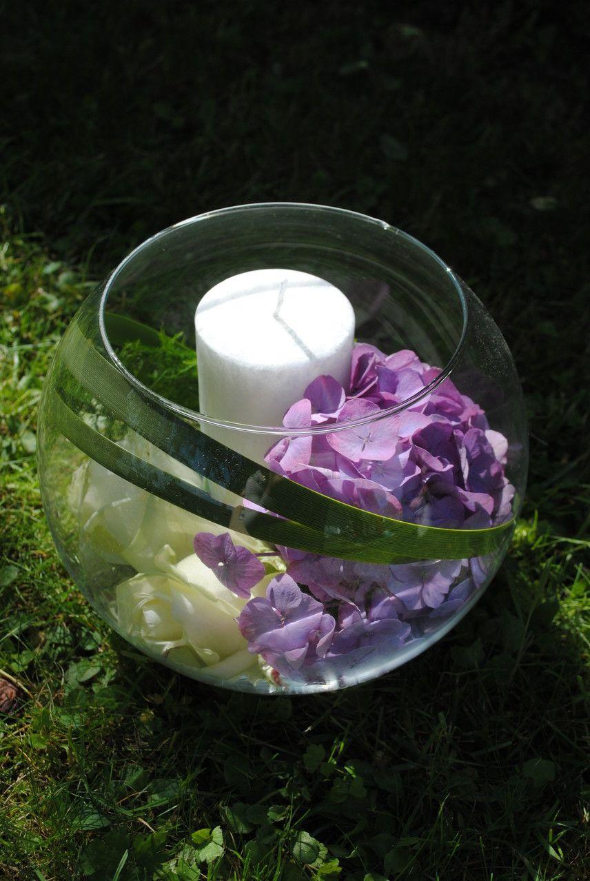 Kugelvase Rose Hortensie Centerpiece Stumpenkerze Tischgestecke Hochzeit Blumenstrauss Hochzeit Tischdeko Blumen