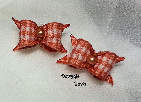3/8 Single Loop Bow PAIRS Gingham Dog Bows