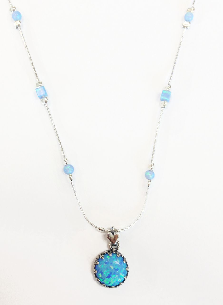 Handmade Silver Necklace with Opal AB7191