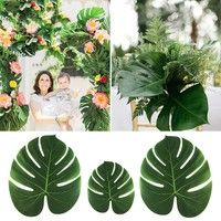 12pcs Artificial Tropical Palm Leaves Simulation Leaf Hawaii Luau Party Decorations Beach Theme Wedding Table Decoration #hawaiianluauparty