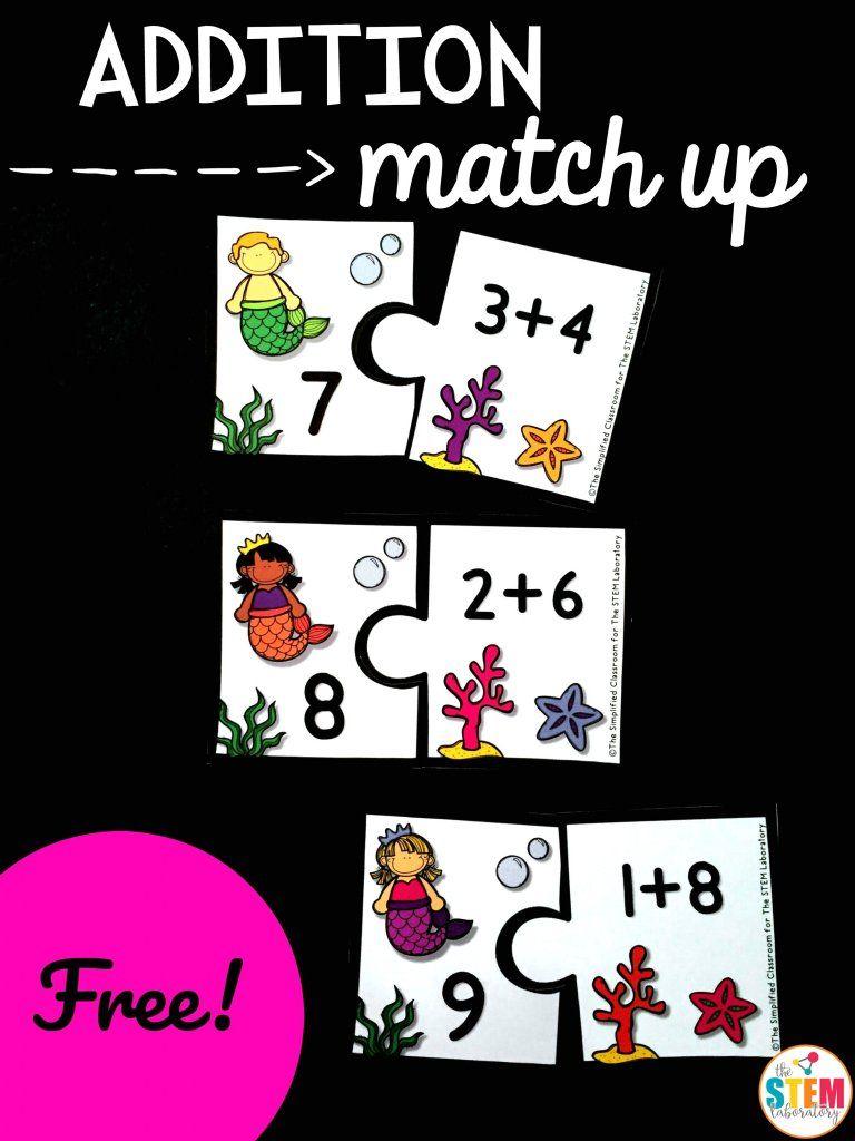 Mermaid Addition Match Up The Stem Laboratory Summer Math Activities Math Fun Math
