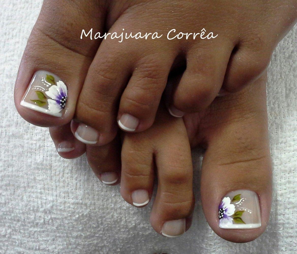 unhas dos pés decoradas com flores passo a passo Pesquisa Google unhas Unhas, Unhas do pé  -> Decoração De Unhas Do Pé