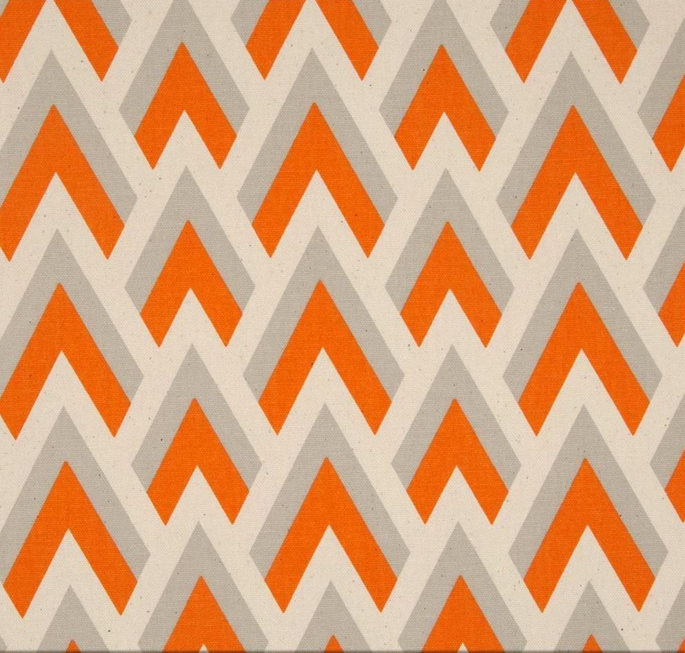 Tangerine Grey Linen Effect Home Decor Weight Fabric