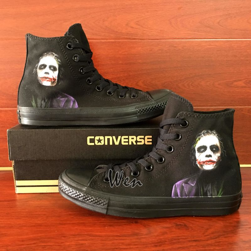Men Women's Sneakers All Black Converse All Star Joker