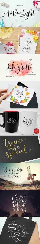 Amberlight is a new, modern, calligraphy style font typeface. 캘리그라피를 다양한 용도로, 하지만 꼭 어울리게 배치해놓은 점이 배울만한 것 같다