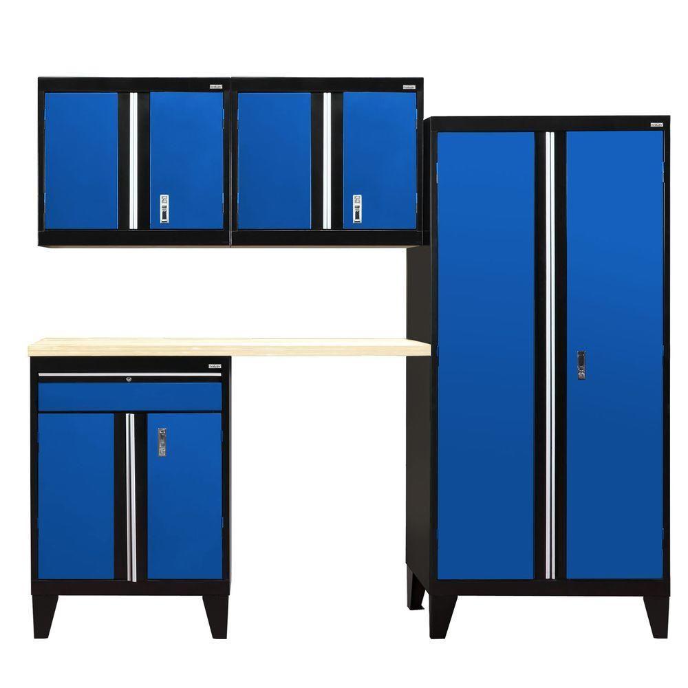 79 In H X 96 In W X 18 In D Modular Garage Welded Steel Storage System In Black Blue 5 Piece Steel Cabinet Blue Garage Cabinets Storage System