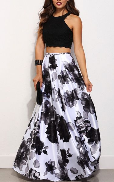 Rochelle Black Floral Two Piece Gown