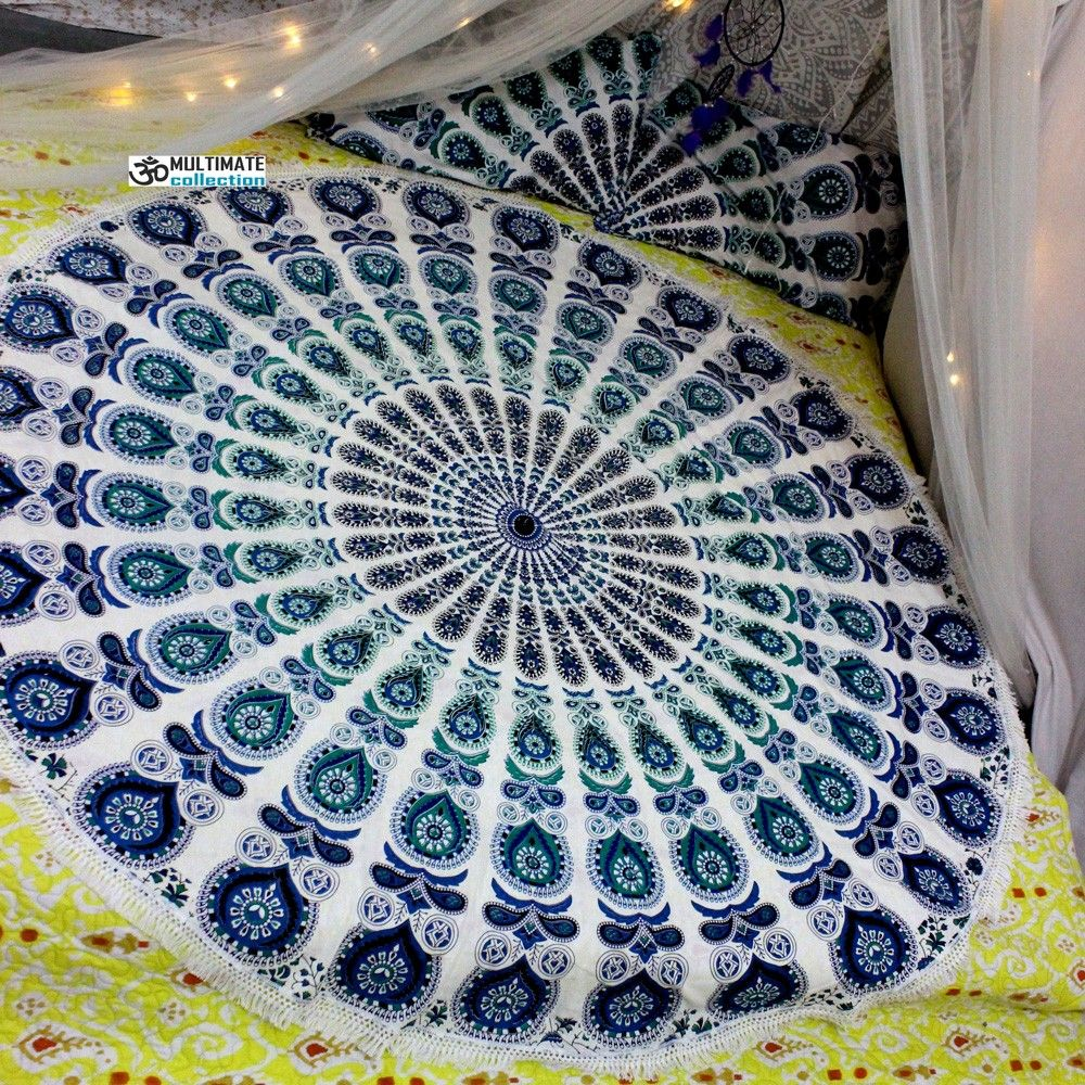Sea large round blanket small fringe