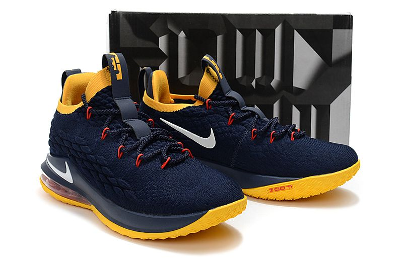 c71b08fa258 Nike LeBron 15 Low Navy Blue Yellow Shoes Free Shipping