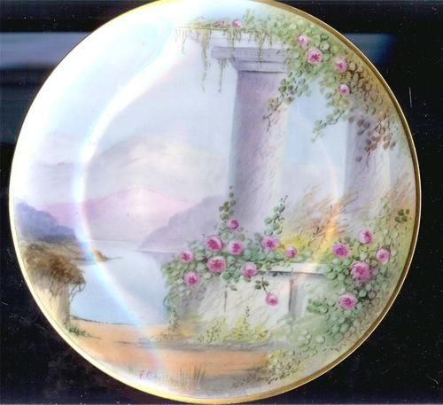 Hand Painted Pickard Antique Plate Gold Trimmed Mountains Signed Challinor | eBay | My Ebay collection - items I have listed | Pinterest & Hand Painted Pickard Antique Plate Gold Trimmed Mountains Signed ...