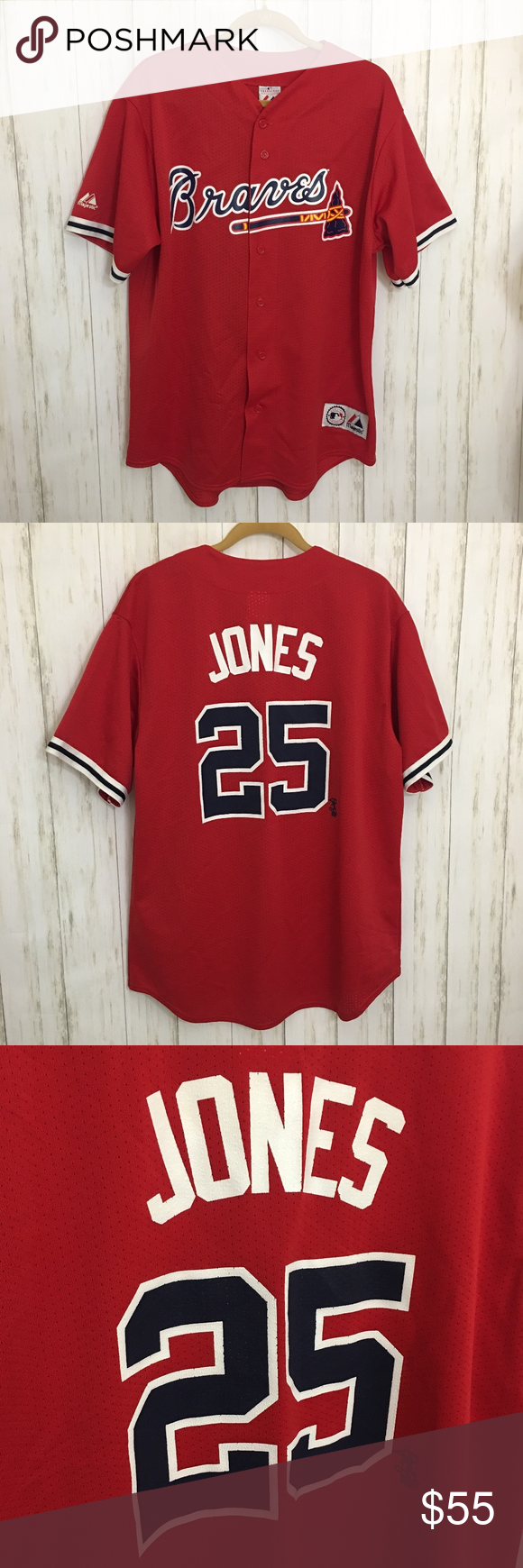 Majestic Atl Braves Jersey Jones 25 Xl Red With Images Majestic Shirts Casual Shirts Clothes Design