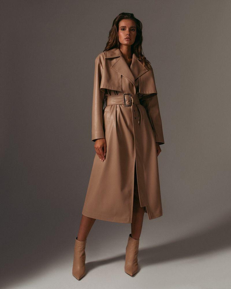 Еco-leather trench coat in beige — Namelazz | Coat ...