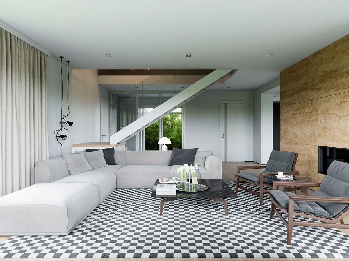 5 Wohnzimmer, die stilvolle moderne Designtrends demonstrieren ...