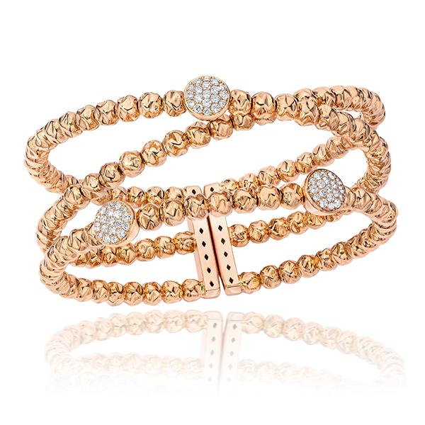 Cellini Jewelers 18 karat Rose Gold Hammered Narrow Cuff Round