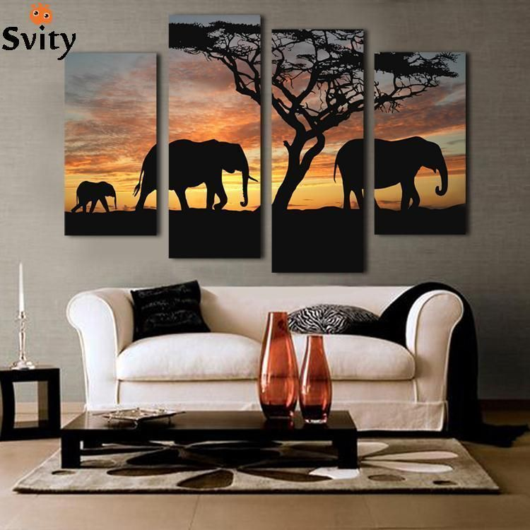 5 Ppcs Sunset Elephant Painting Canvas Wall Art Picture Home Decoration Living Room Canvas Print Modern Painting--Large Canvas images