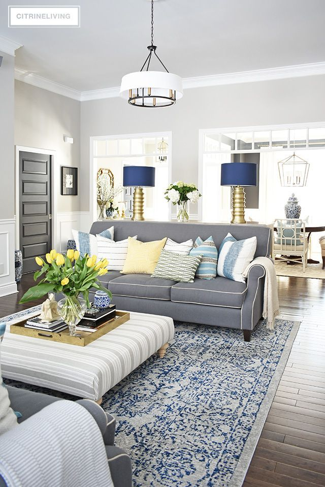Best Spring Home Tour With Vibrant Yellows And Pretty Blues 640 x 480