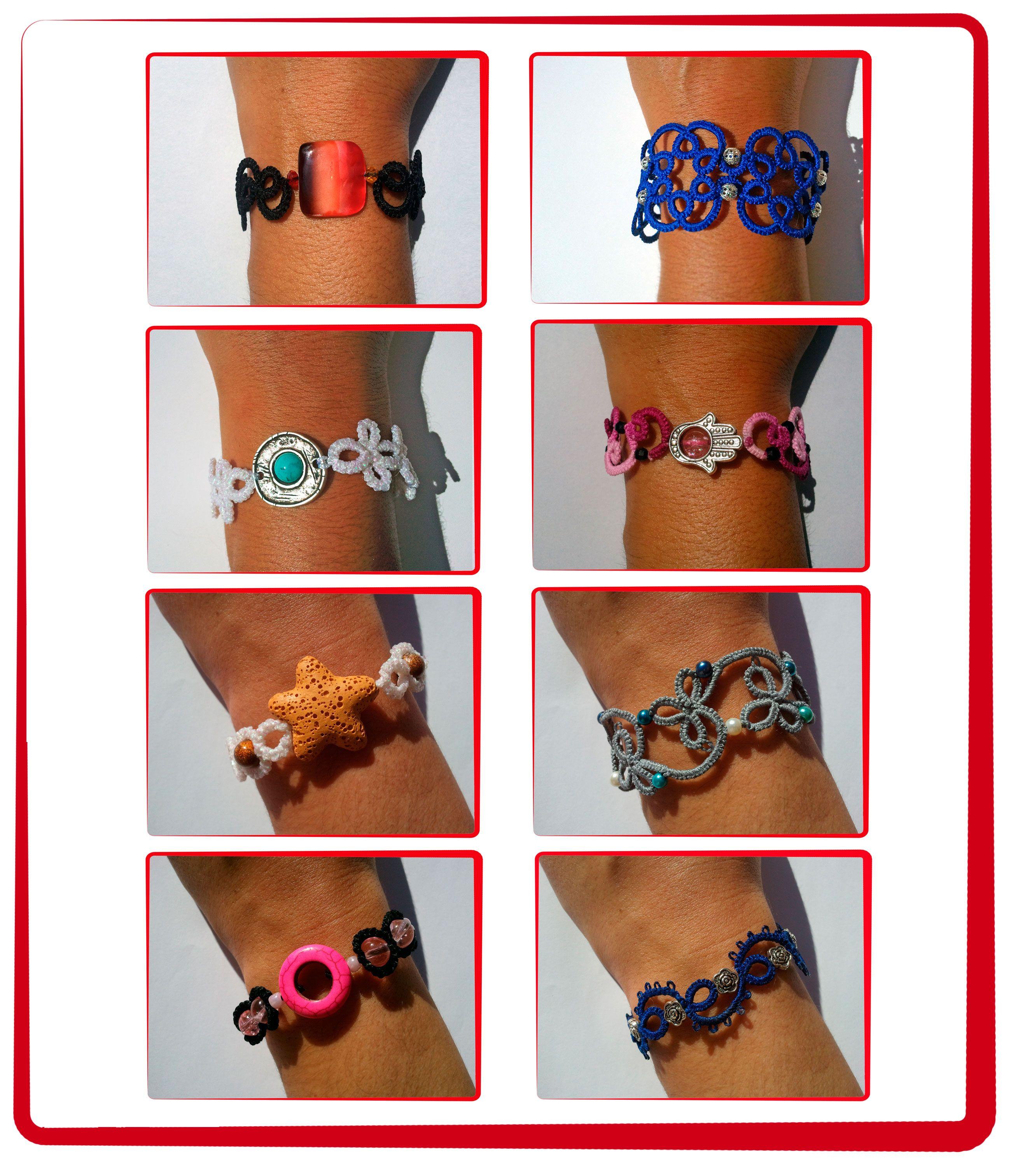 e90350424b76 Varios modelos de pulseras hechas con abalorios y la técnica frivolité.  Abalorios
