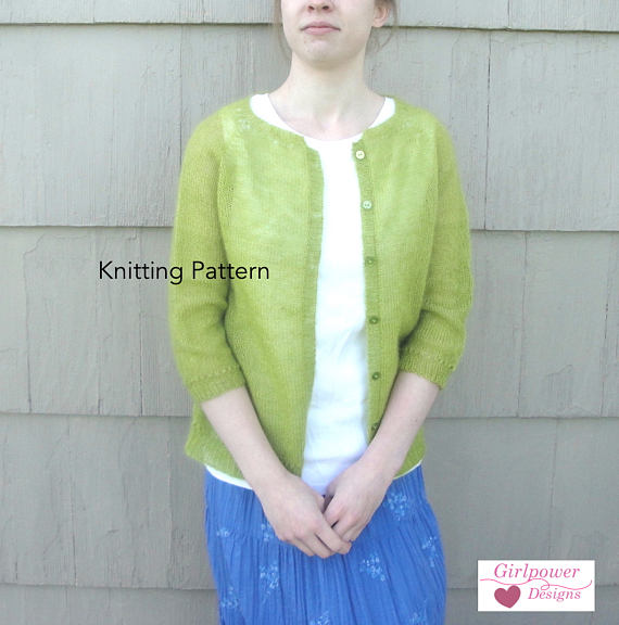 Basic Cardigan Sweater, Knitting Pattern, Mohair Lace Yarn, Women XS ...