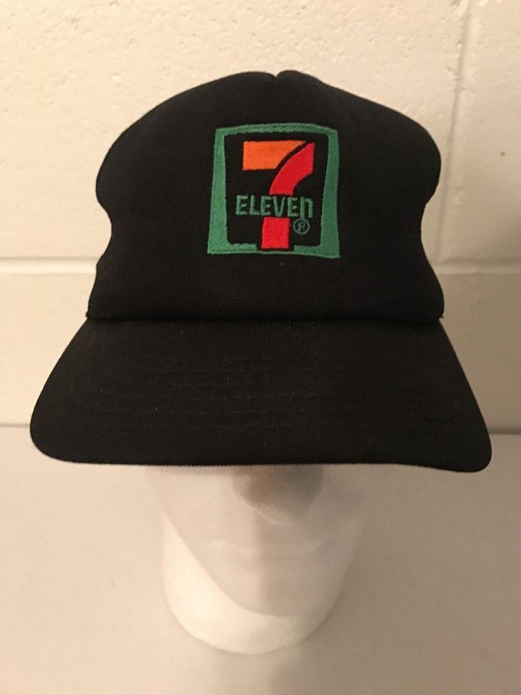 95983873ce3 7-Eleven 7-11 Cap Hat Snapback Trucker Mesh Neon Black Vintage ...