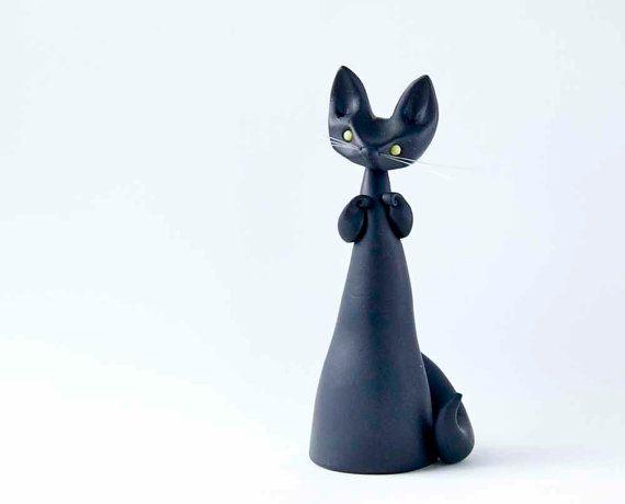 Black Cat Figurine  Le Matagot de Bonjour by BonjourPoupette