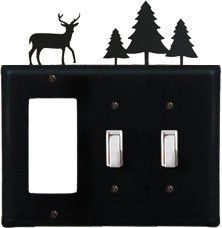 Deer & Pine Trees - Single GFI and Double Switch Cover by Village Wrought Iron. $17.12. Deer & Pine Trees - Single GFI and Double Switch CoverApprox. 6 1/2 In. W x 8 In. H Please allow 4 to 6 weeks for delivery.