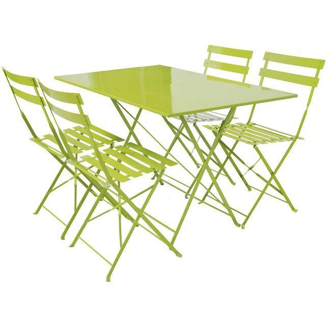 Table rectangulaire pliante FRESH 4 couverts et 4 chaises ...