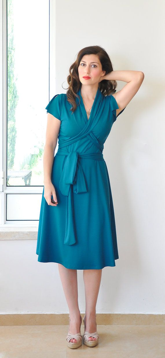 SAMPLE SALE Size XL / 16US sale 35% off teal wrap dress | Day ...