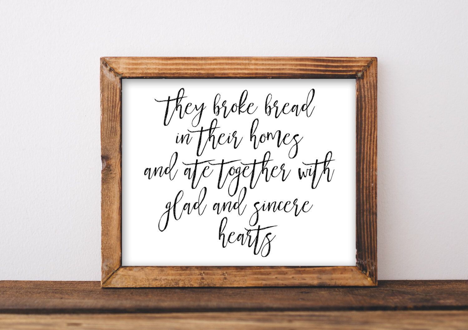 Broke Bread In Their Homes Printable Fixer Upper Style Farmhouse Farm House Decor Dining Room Art Wall Scripture