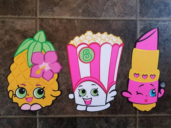 Shopkins Birthday Wall Decorations Pineapple Popcorn Lipstick Diecut Cardstock Large Set Of 3 11
