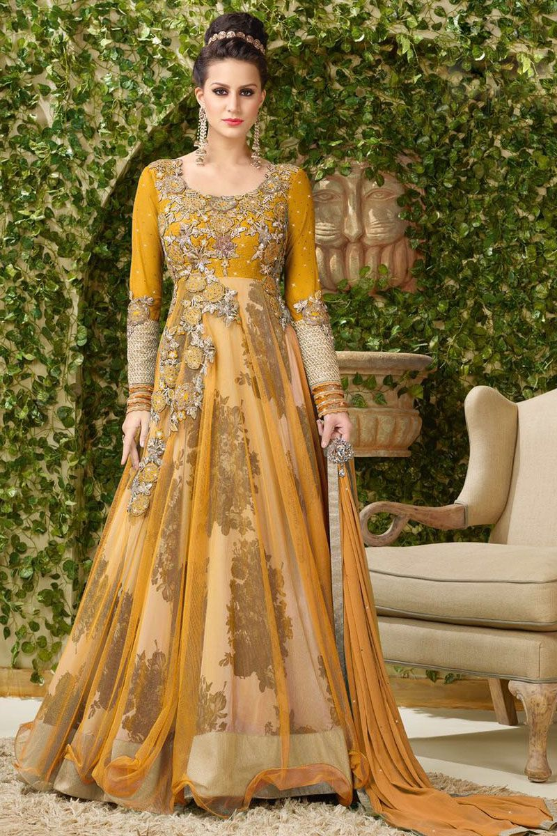 Yellow Heavy Embroidered Floor Length Gown Style Party Wear Long Anarkali Suit in Net Fabric With Silk Printed Inner #yellow #printed #embroidered #vipul #gown #anarkali