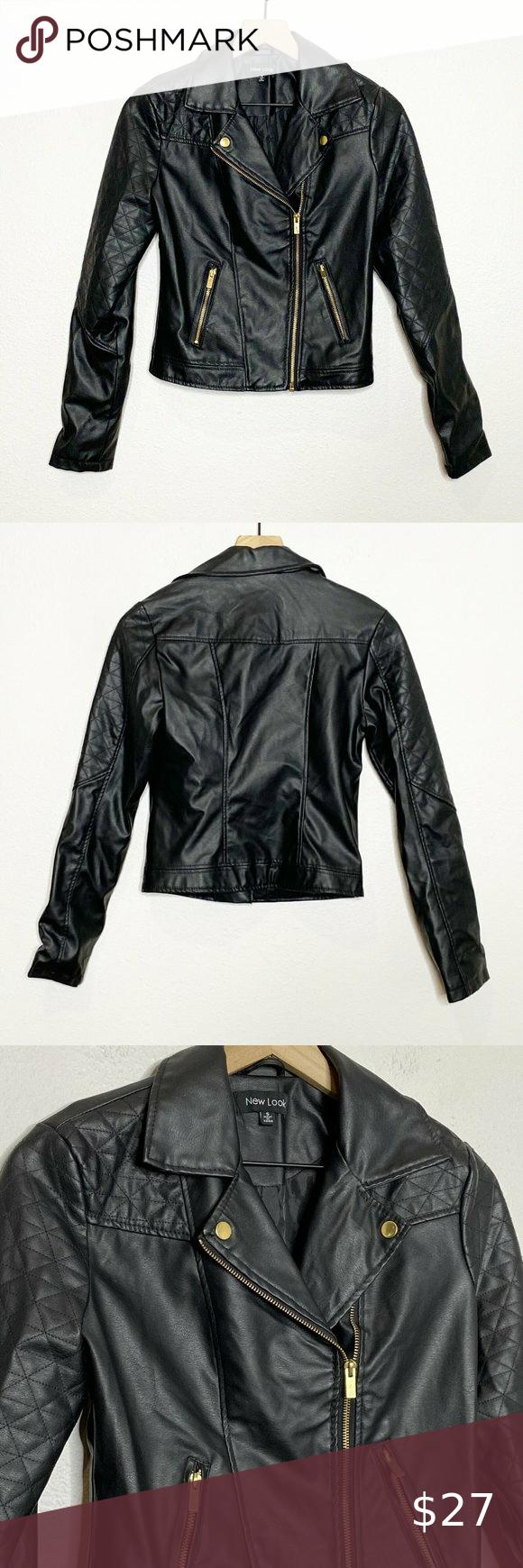 New Look Black Faux Leather Moto Biker Jacket New Look Jackets Moto Biker Jacket Biker Jacket [ 1740 x 580 Pixel ]