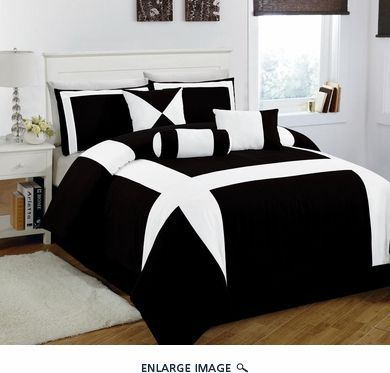 7 Piece Cal King Jefferson Black And White Comforter Set Bedding
