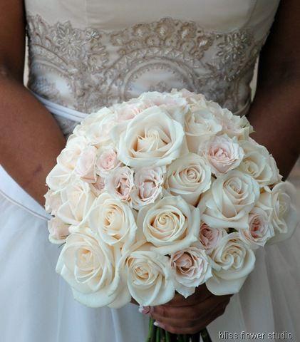Vendela roses, majolika spray roses, hand tied with Midori magnolia double faced satin ribbon