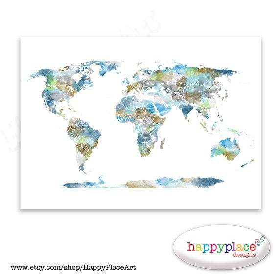 Watercolour world map poster large world map by happyplaceart watercolour world map poster large world map by happyplaceart gumiabroncs Gallery