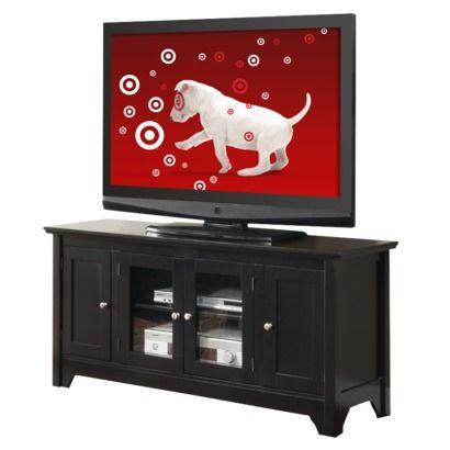 52 Wood Tv Stand Storage Console Black Saracina Home Wood Tv