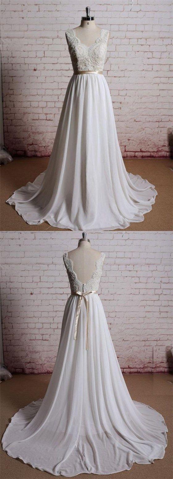 Lace V Neck A Line Cheap Beach Wedding Dresses Online Wd386 Informal Wedding Dresses Online Wedding Dress V Neck Wedding Dress