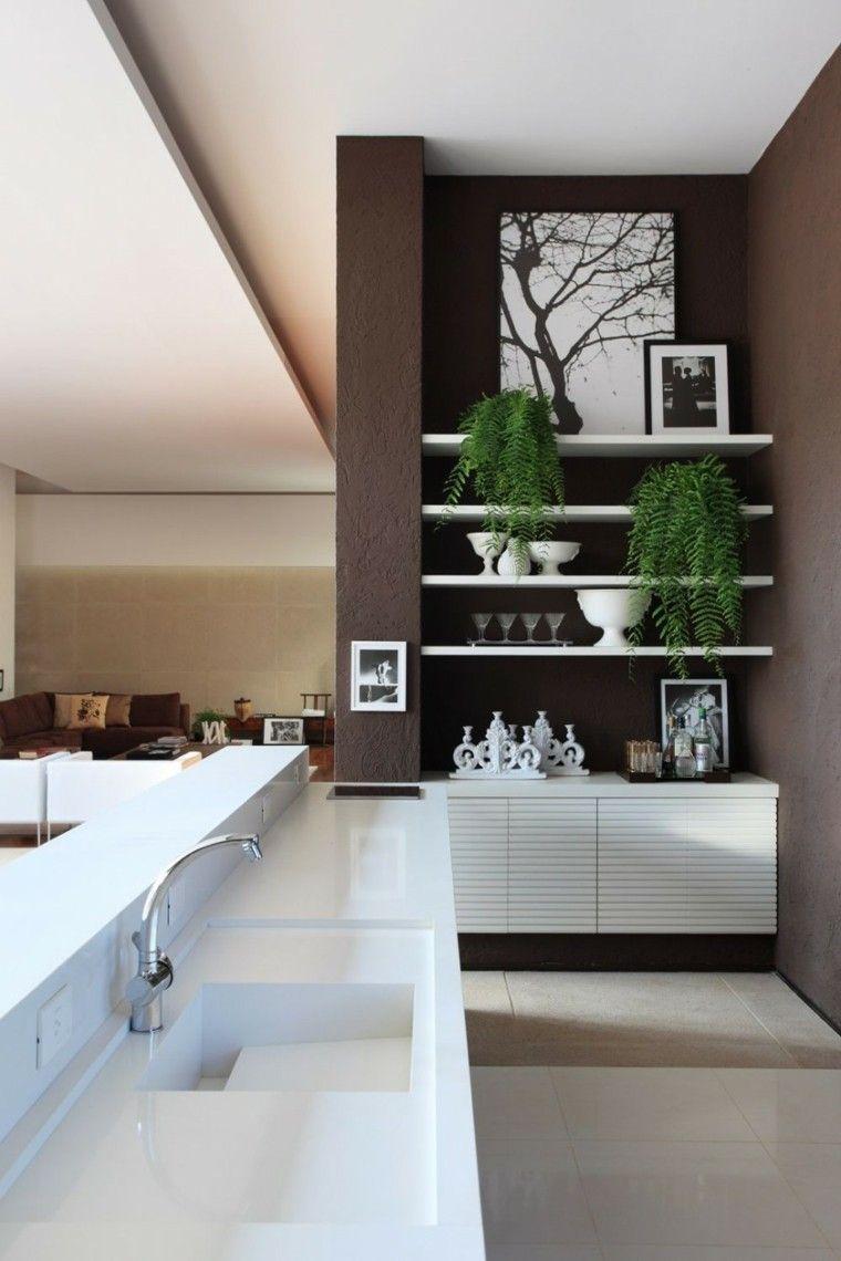 diseño cocinas moderna pared marron   Interiores para cocina   Pinterest