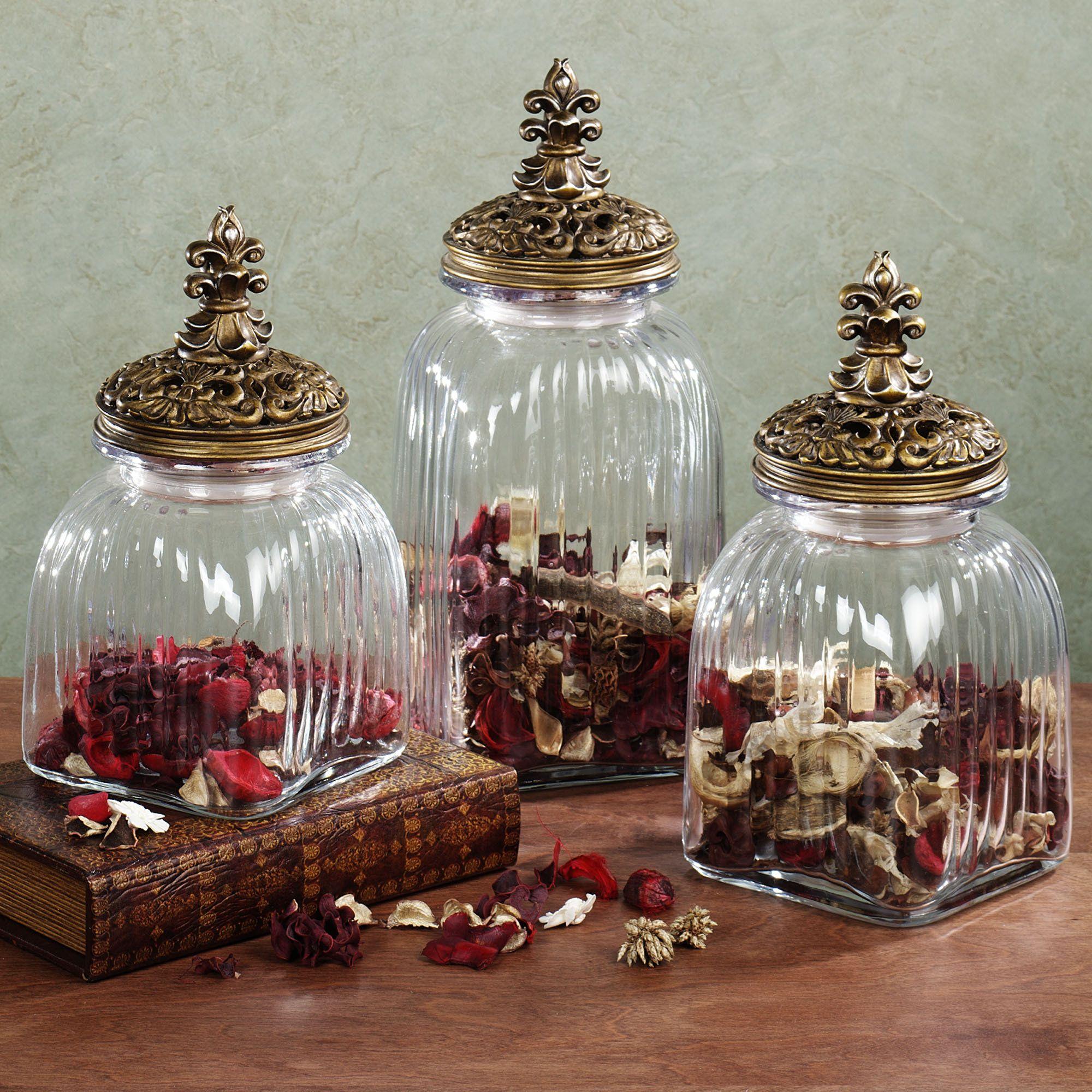 Fleur De Lis Decorative Canister Set Antique Gold Set Of