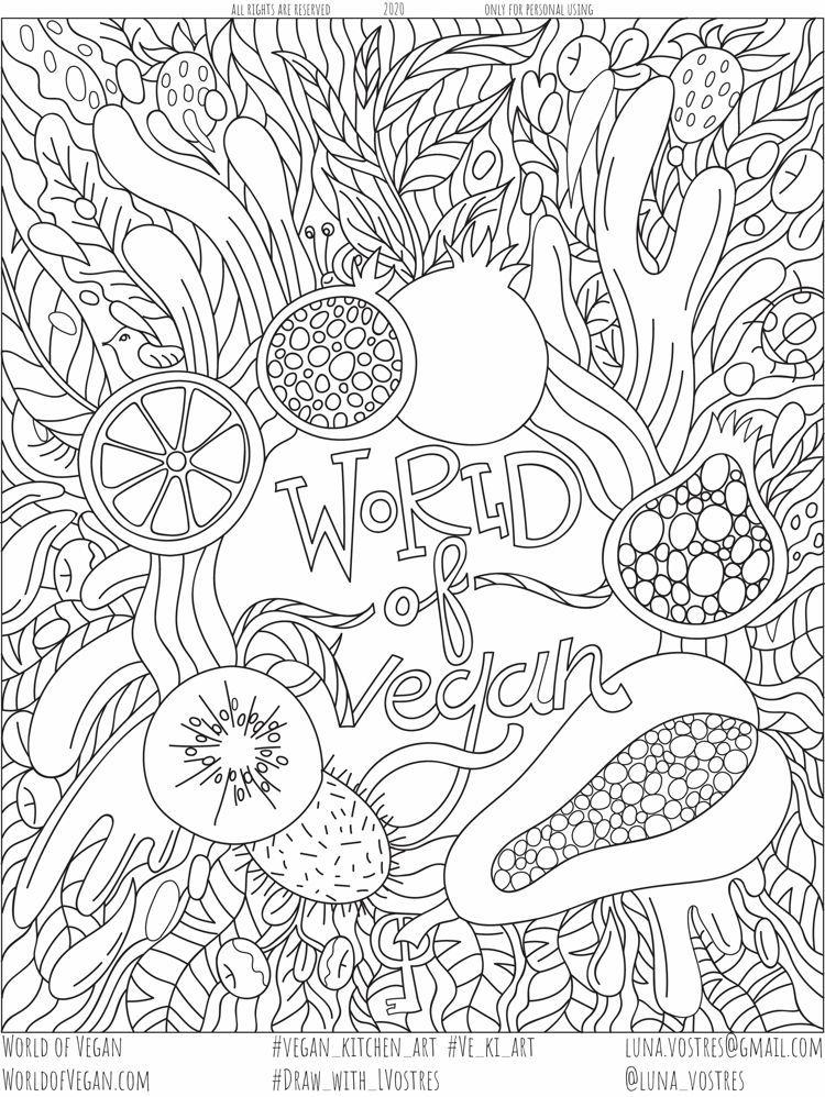 Vegan Coloring Page Free Printable Activity For Adults Kids In 2021 Coloring Pages Free Coloring Pages Free Printable Activities