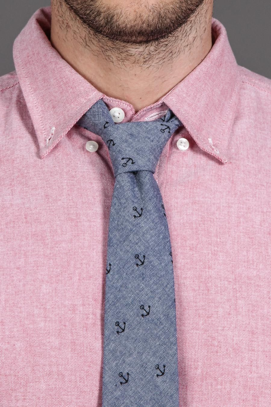 The Printed Anchor Chambray Necktie