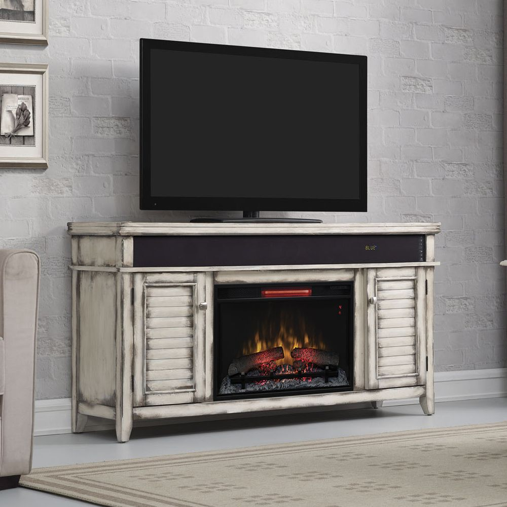 Simmons Infrared Electric Fireplace Entertainment Center in Country White - 26MMS8529-T478