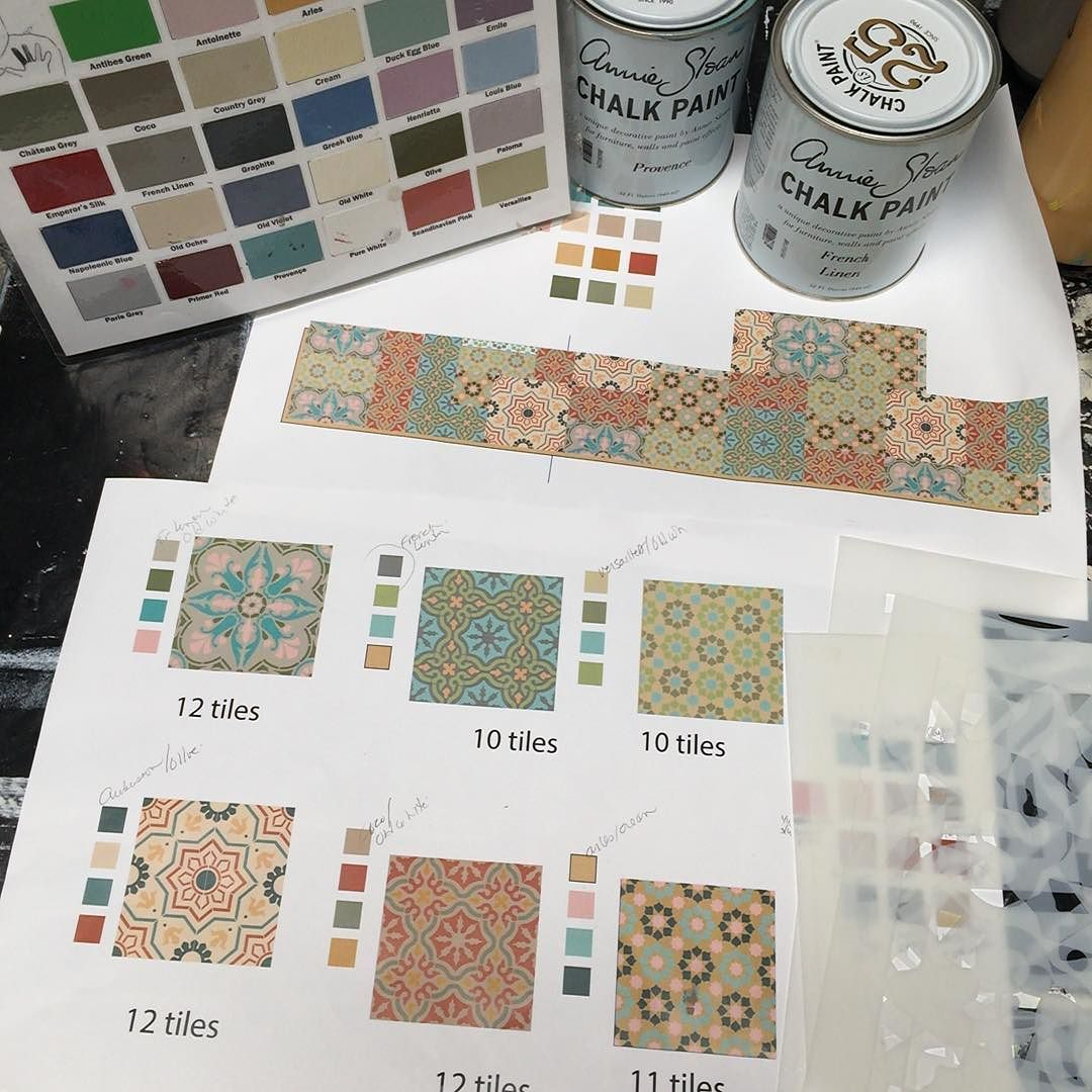 The plot thickens plotting out a mix match stenciled tile plotting out a mix match stenciled tile backsplash for our studio kitchen 4 new tile designs coming on friday that were stenciling on wood tiles with dailygadgetfo Choice Image