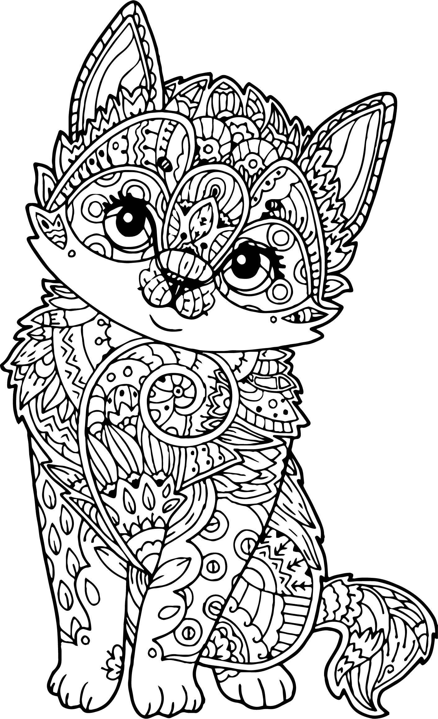 Adult Mandala Cat Puppy Coloring Page