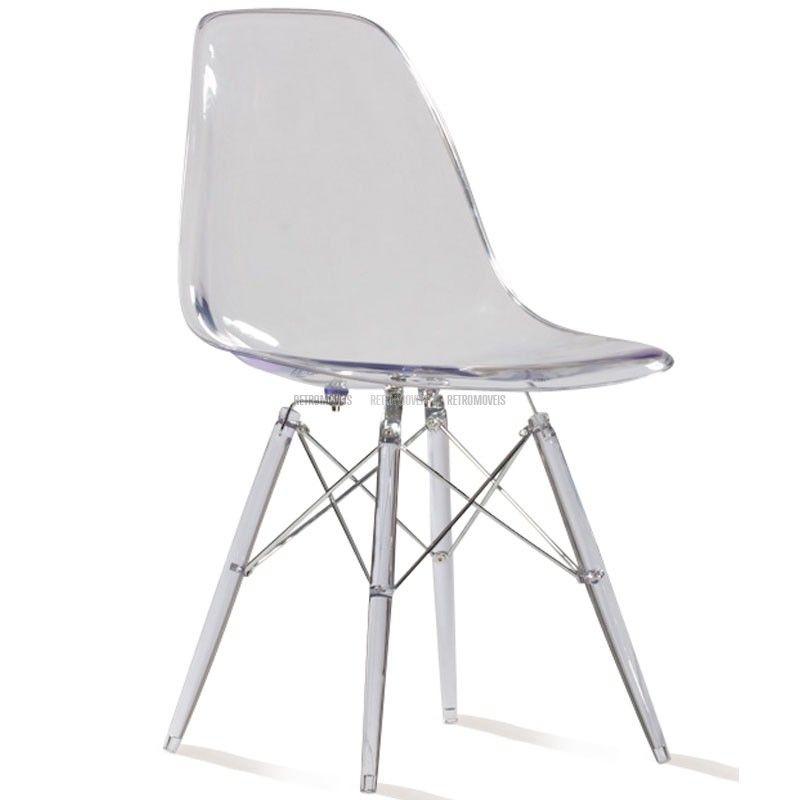 cadeira dsw transparente charles ormond eames retromoveis brasil - Chaise Dsw Transparente